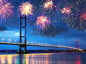 Fireworks over The Humber Bridge